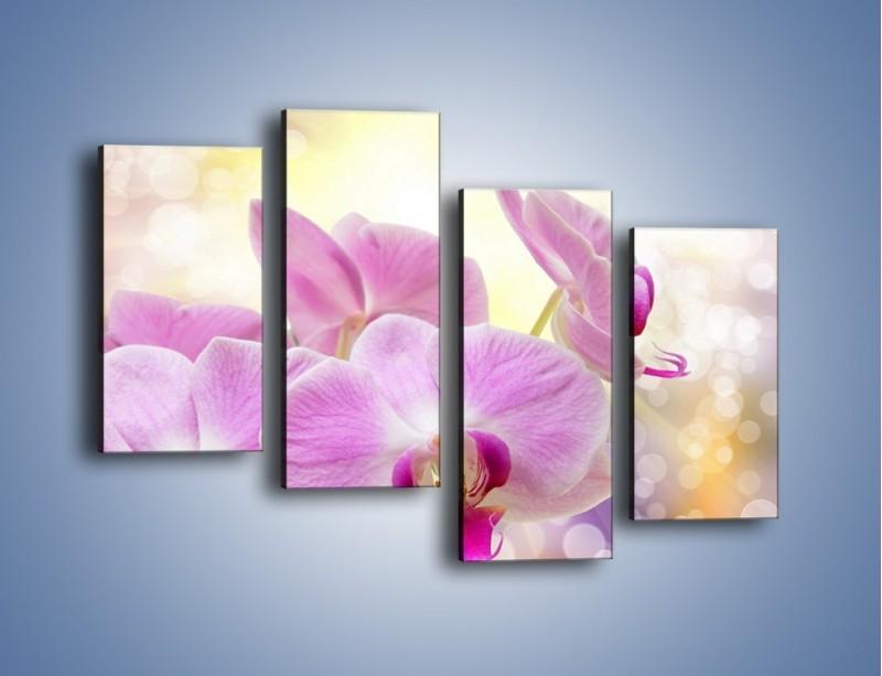 Obraz na płótnie – Lila kwiaty o poranku – czteroczęściowy K976W2
