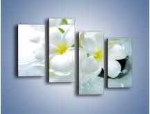 Obraz na płótnie – Białe kwiaty w potoku – czteroczęściowy K991W2