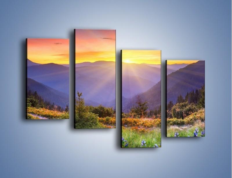 Obraz na płótnie – Góry o zachodzie słońca – czteroczęściowy KN014W2
