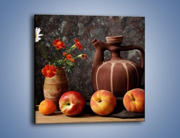 Obraz na płótnie – Kwiaty wśród owoców – jednoczęściowy kwadratowy JN280