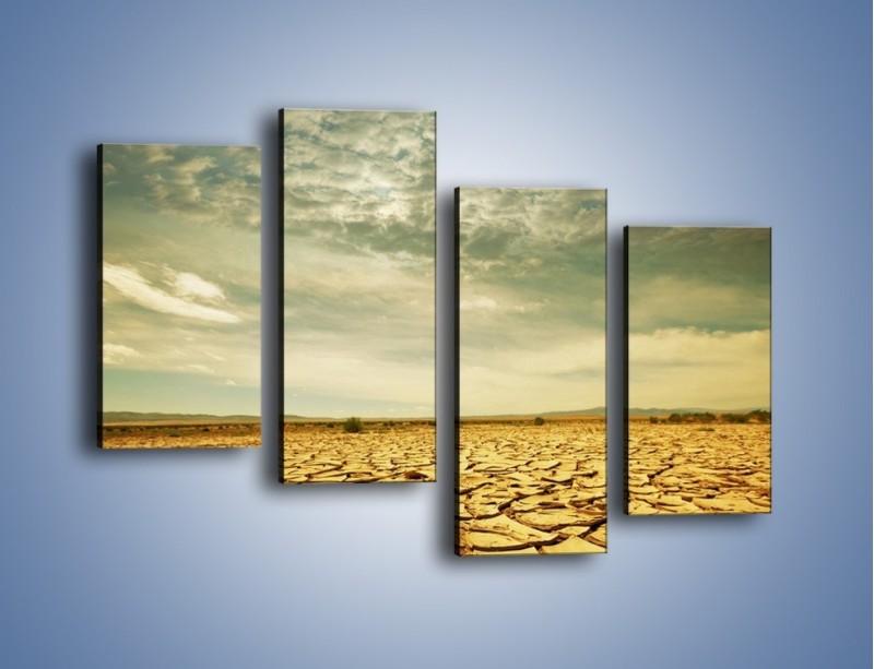 Obraz na płótnie – Ciemne chmury nad popękaną ziemią – czteroczęściowy KN025W2