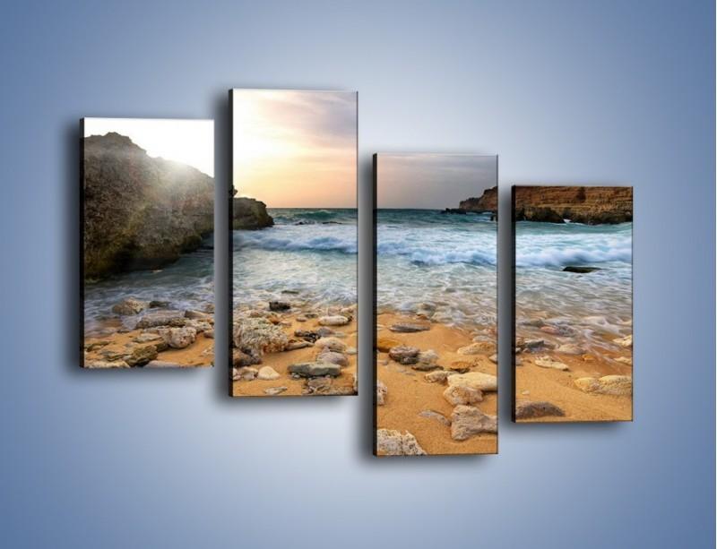 Obraz na płótnie – Kamienista plaża o poranku – czteroczęściowy KN043W2