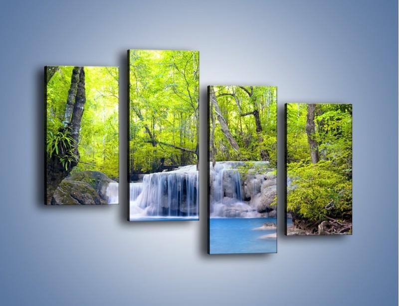Obraz na płótnie – Mały leśny wodospad – czteroczęściowy KN057W2