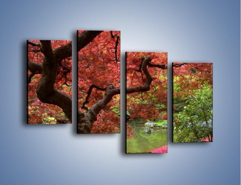 Obraz na płótnie – Pejzaż jak w raju – czteroczęściowy KN069W2