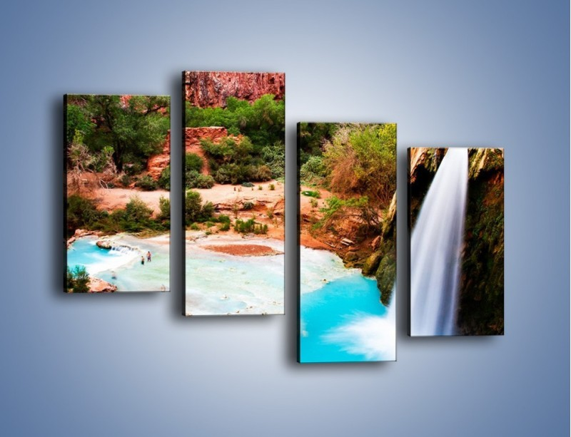 Obraz na płótnie – Zabawy przy wodospadzie – czteroczęściowy KN095W2