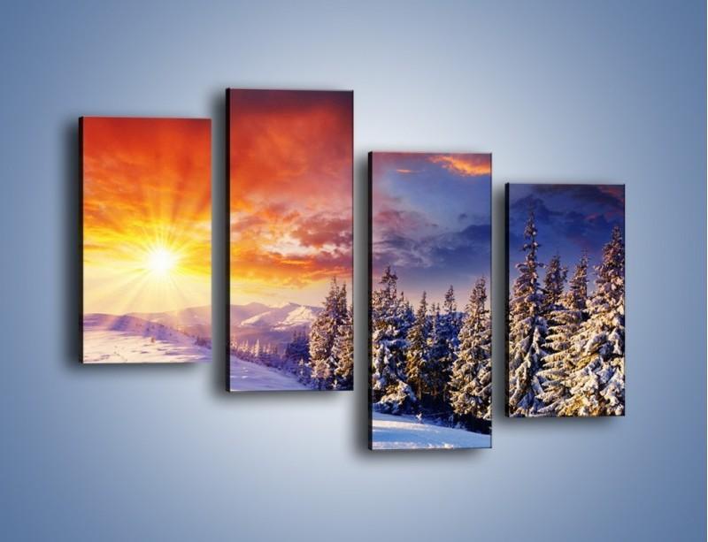 Obraz na płótnie – Urok zimowej pary – czteroczęściowy KN098W2