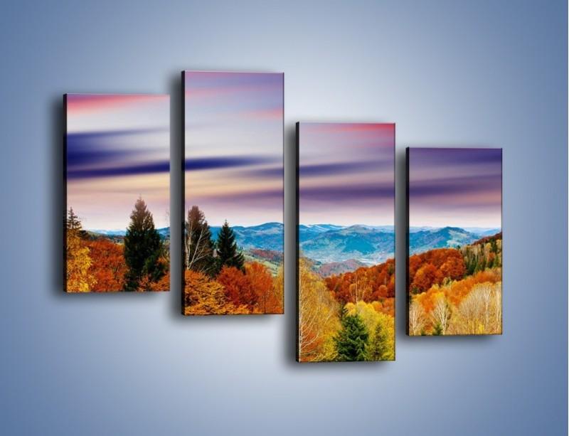 Obraz na płótnie – Drzewa w kolorach jesieni – czteroczęściowy KN099W2