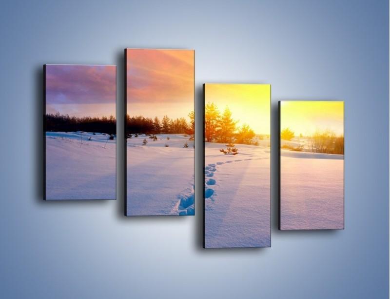 Obraz na płótnie – Ślady na śnieżnym puchu – czteroczęściowy KN1015W2