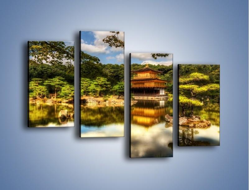 Obraz na płótnie – Widok z domu na wodę – czteroczęściowy KN1030W2