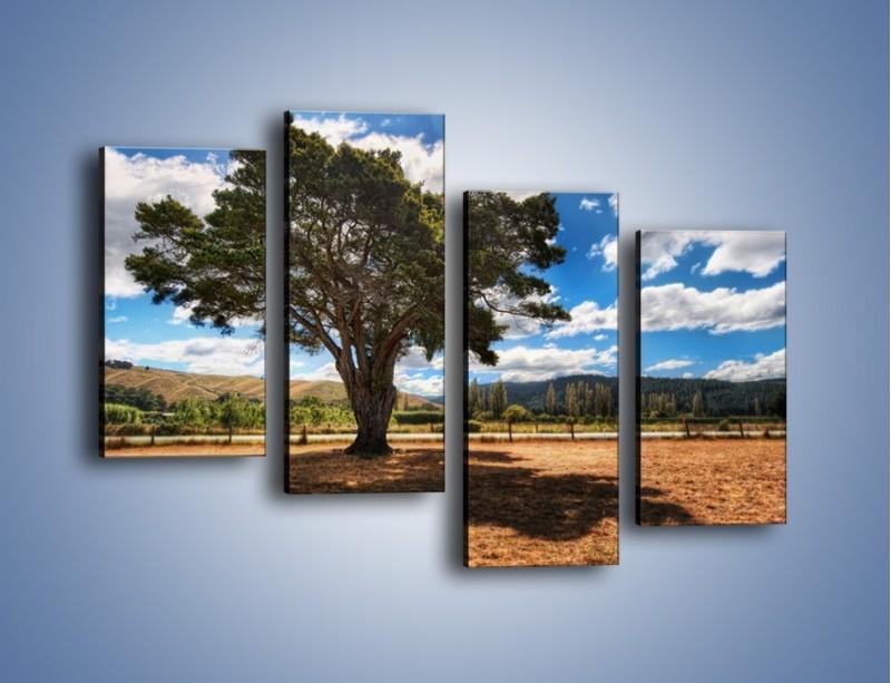 Obraz na płótnie – Cień pod rozłożystym drzewem – czteroczęściowy KN1037W2