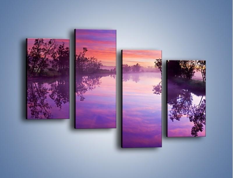 Obraz na płótnie – Fiolet w wodzie i na niebie – czteroczęściowy KN1046W2
