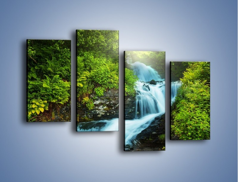 Obraz na płótnie – Spływ wodny i zieleń – czteroczęściowy KN1069W2