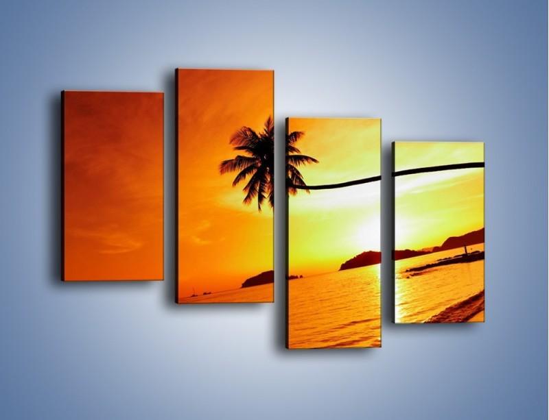 Obraz na płótnie – Palma o zachodzie słońca – czteroczęściowy KN1077W2