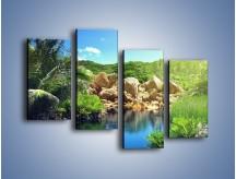 Obraz na płótnie – Bogata roślinność nad wodą – czteroczęściowy KN1082AW2