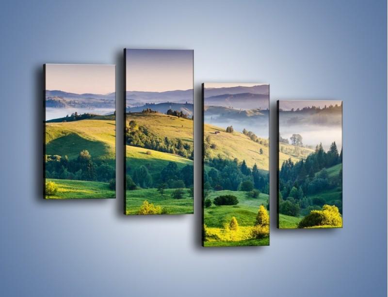 Obraz na płótnie – Tylko zieleń i góry – czteroczęściowy KN1084W2