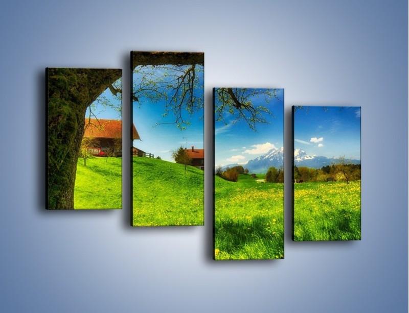 Obraz na płótnie – Chatki na polanie – czteroczęściowy KN1085AW2