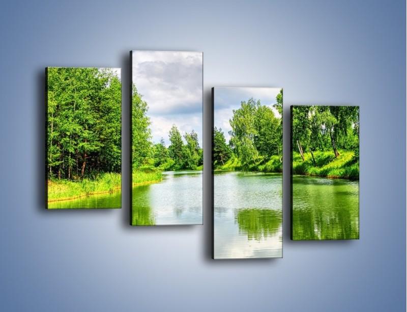 Obraz na płótnie – Spokojna woda i las – czteroczęściowy KN1086W2