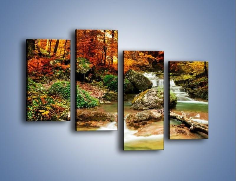 Obraz na płótnie – Jesienne kolory w lesie – czteroczęściowy KN1094AW2