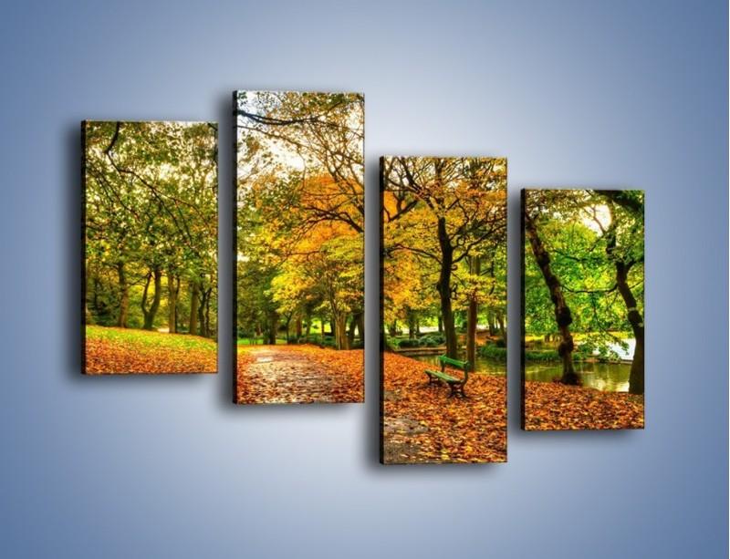 Obraz na płótnie – Piękna jesień w parku – czteroczęściowy KN1098AW2