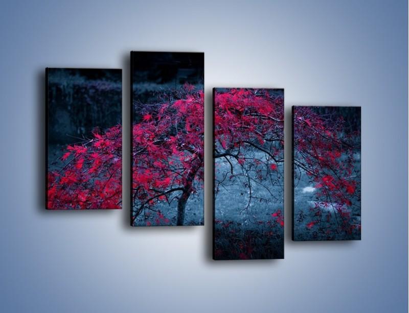 Obraz na płótnie – Czerwone płaczące drzewo – czteroczęściowy KN1101AW2