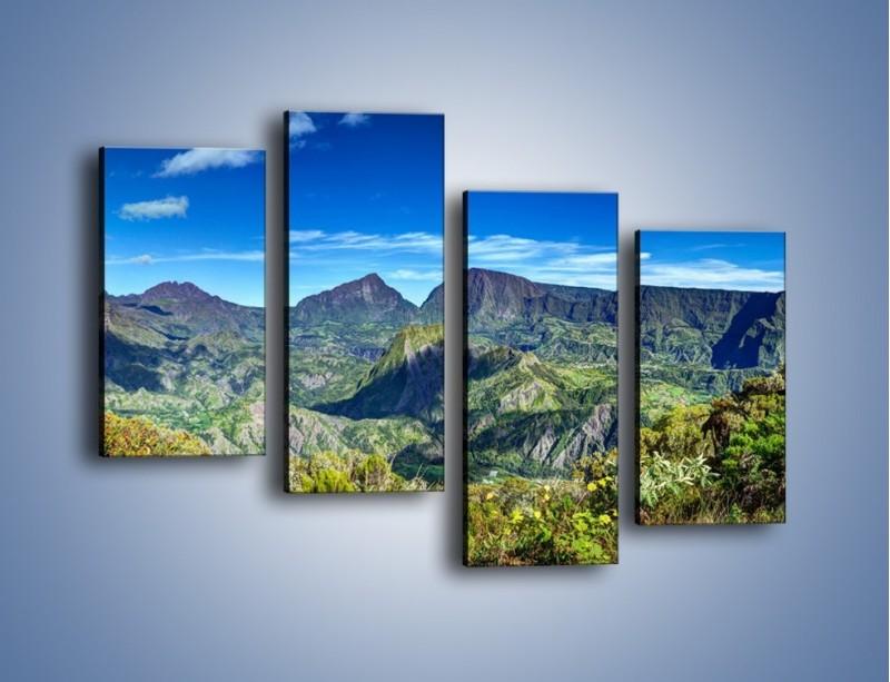 Obraz na płótnie – Zieleń ukryta wysoko w górach – czteroczęściowy KN1106W2
