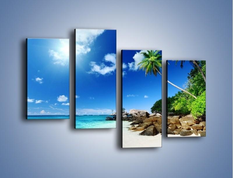 Obraz na płótnie – Palmą aż do obłoczka – czteroczęściowy KN1107AW2
