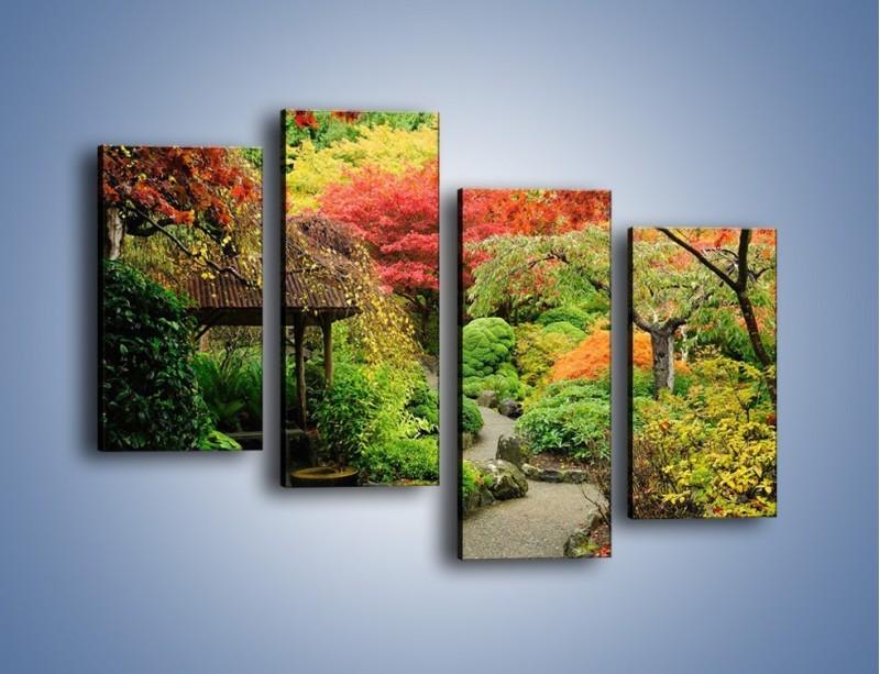 Obraz na płótnie – Alejka między kolorowymi drzewami – czteroczęściowy KN1113W2