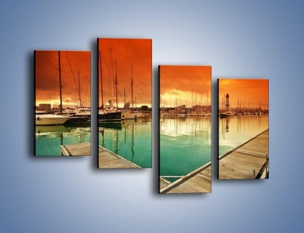 Obraz na płótnie – Jachty na wodzie – czteroczęściowy KN1127AW2