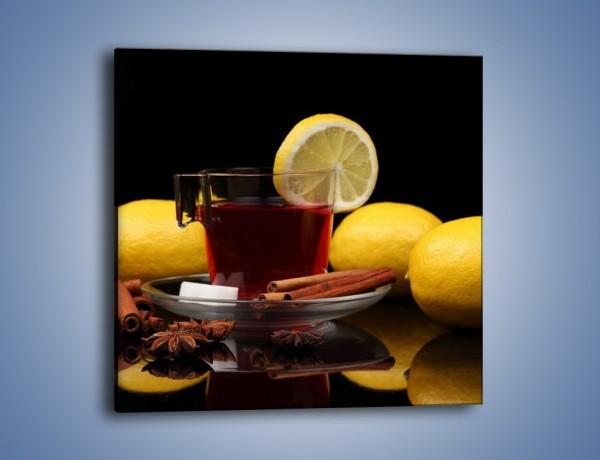 Obraz na płótnie – Mocna herbatka z cytryną – jednoczęściowy kwadratowy JN284