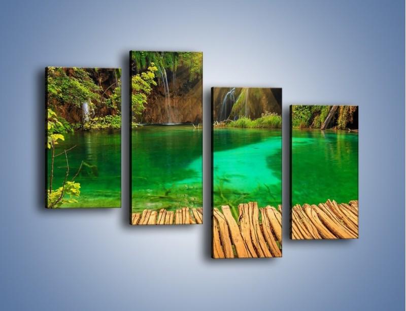 Obraz na płótnie – Zielone oczko wodne i drewno – czteroczęściowy KN1149AW2