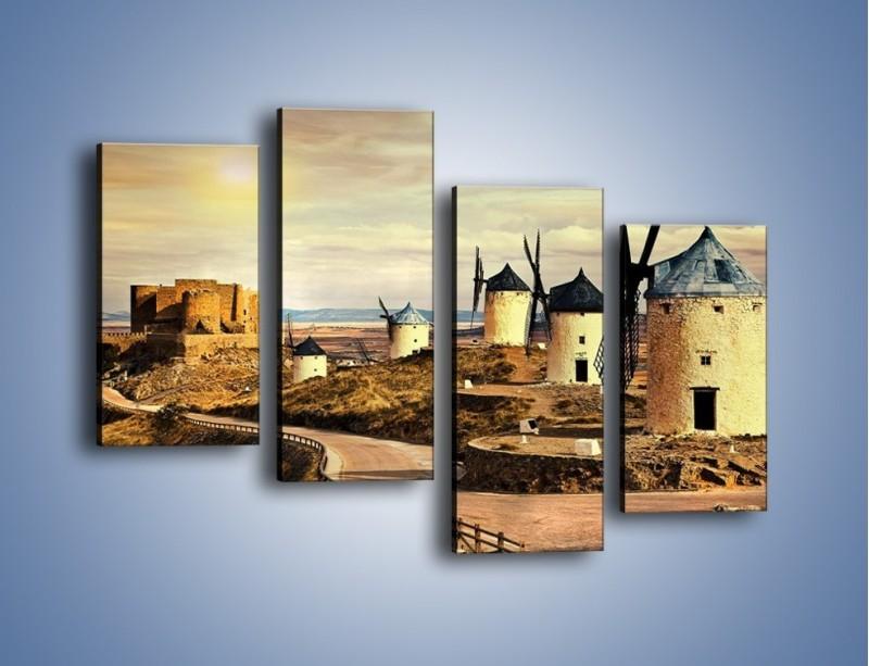 Obraz na płótnie – Młyny przy drodze do zamku – czteroczęściowy KN1154AW2
