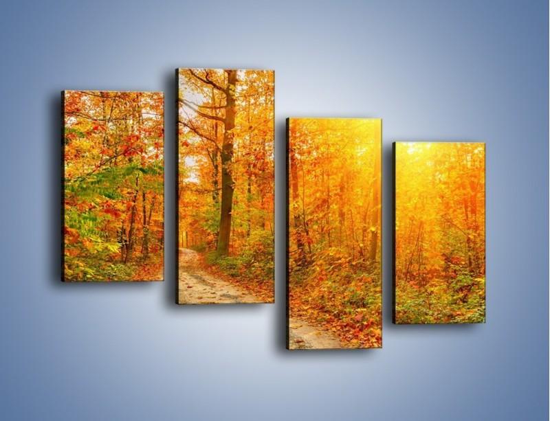 Obraz na płótnie – Leśną drużką jesienią – czteroczęściowy KN1163AW2