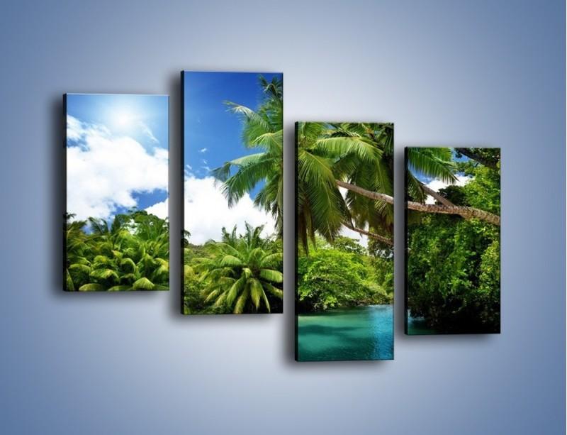 Obraz na płótnie – Rozłożone palmy i woda – czteroczęściowy KN1168AW2