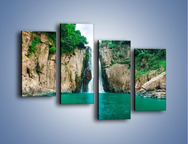 Obraz na płótnie – Skok ze skarpy do wody – czteroczęściowy KN1184AW2