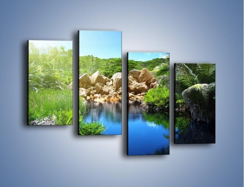 Obraz na płótnie – Wapienne skałki na wodzie – czteroczęściowy KN1188AW2
