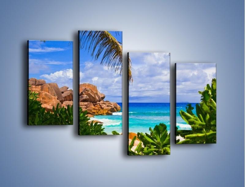 Obraz na płótnie – Urlop pod palmami – czteroczęściowy KN1191AW2