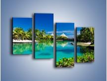 Obraz na płótnie – Biały piasek i palmy – czteroczęściowy KN1201AW2