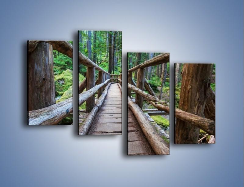 Obraz na płótnie – Mostek z drewnianych bali – czteroczęściowy KN1207AW2