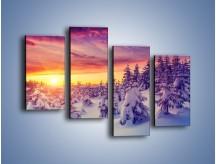 Obraz na płótnie – Choinki w śnieżnej szacie – czteroczęściowy KN1220AW2