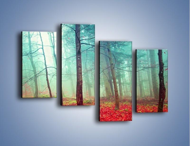 Obraz na płótnie – Drzewka na czerwonym dywanie – czteroczęściowy KN1222AW2