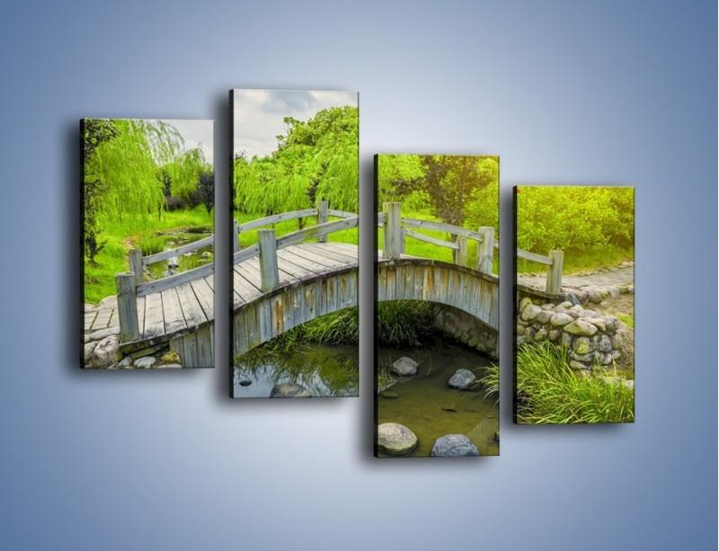 Obraz na płótnie – Mały mostek przez rzeczkę – czteroczęściowy KN1254AW2