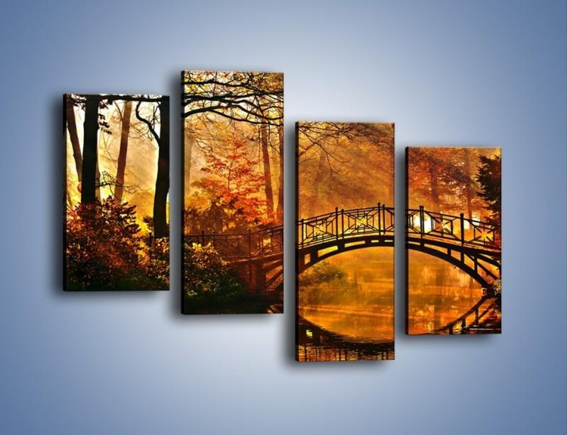 Obraz na płótnie – Cudowny spacer jesienną porą – czteroczęściowy KN1319AW2