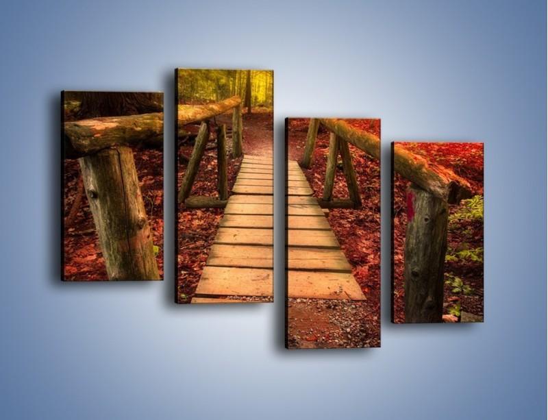 Obraz na płótnie – Krótkie przejście przez las – czteroczęściowy KN1330AW2