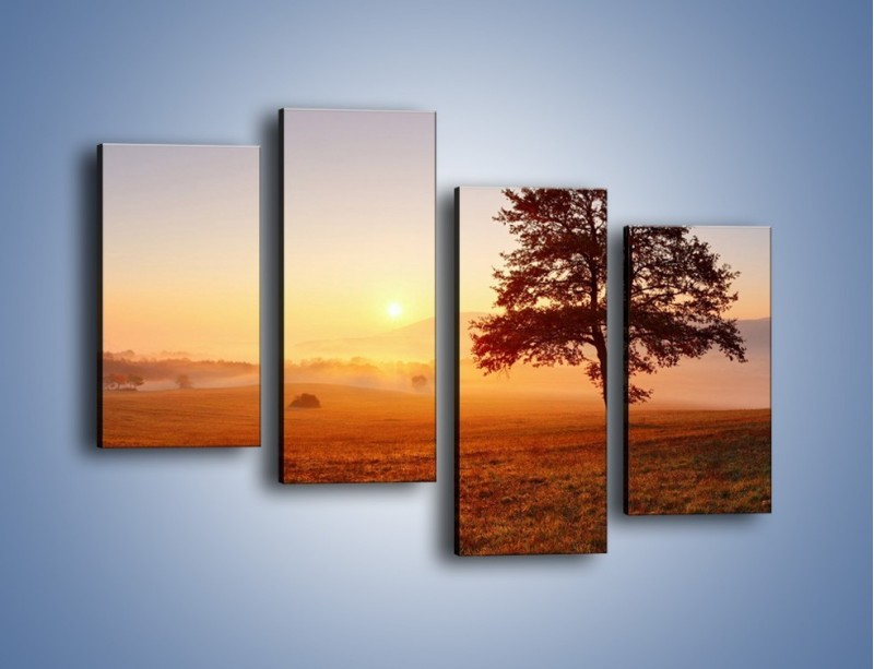 Obraz na płótnie – Krajobraz utopiony we mgle – czteroczęściowy KN1331AW2
