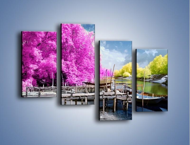 Obraz na płótnie – Wyraźne kolory w szarym tle – czteroczęściowy KN1334AW2