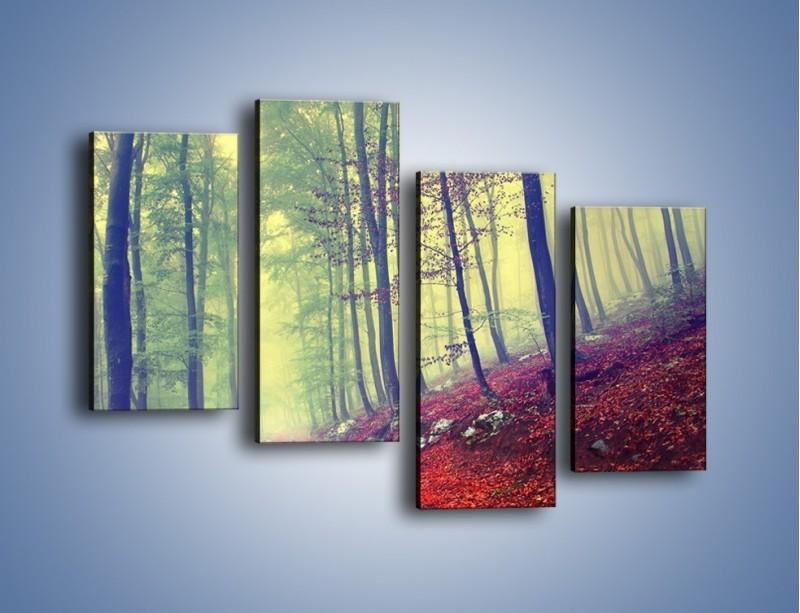 Obraz na płótnie – Bardzo wąską ścieżką leśną – czteroczęściowy KN1335AW2