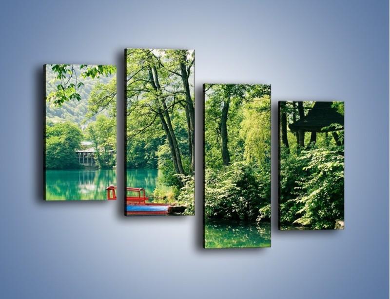 Obraz na płótnie – Wakacje nad jeziorem – czteroczęściowy KN155W2