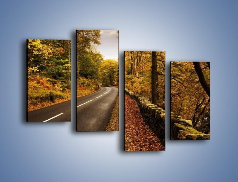 Obraz na płótnie – Asfaltową droga przez las – czteroczęściowy KN169W2
