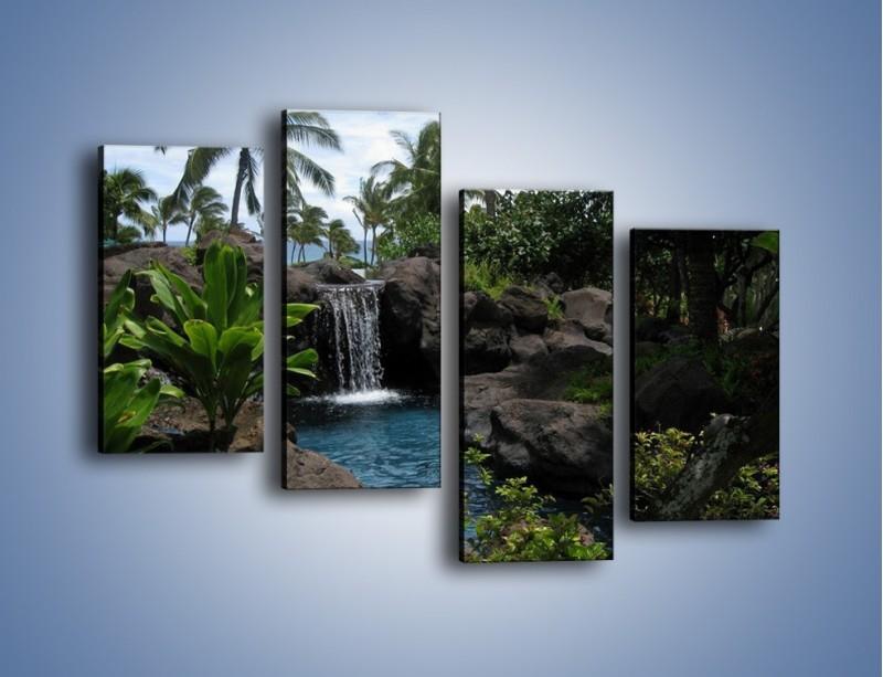 Obraz na płótnie – Wodospad wśród palm – czteroczęściowy KN208W2