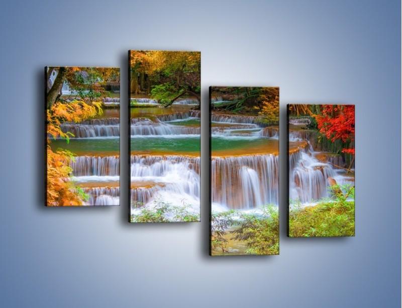 Obraz na płótnie – Schodki z wodospadów – czteroczęściowy KN287W2